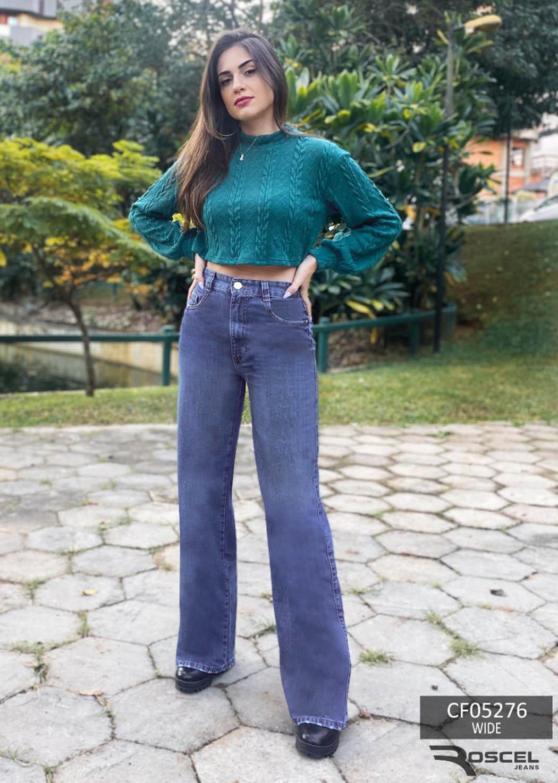 Calça Feminina Jeans Wide