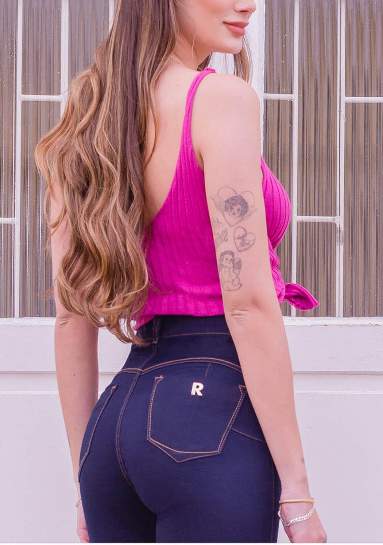 Calça Feminina Milagrosa Skinny Detalhe 2 Tons De Linhas