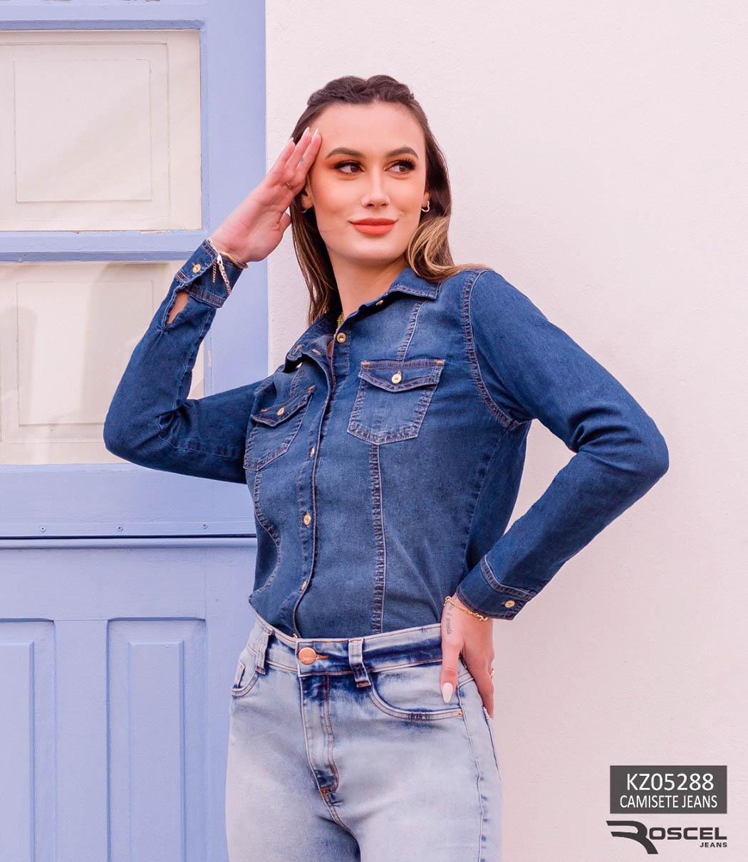 Camisete Jeans com detalhes Recorte