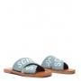 Sandália Rasteira de X Logo Azul Claro Schutz