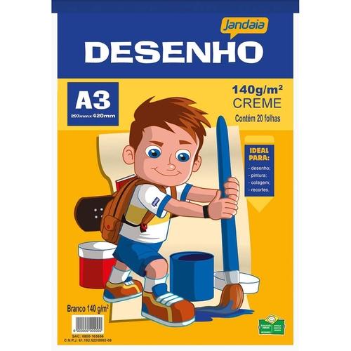 BLOCO DE PAPEL DESENHO ESCOLAR A3 CREME C/ 20 FLS