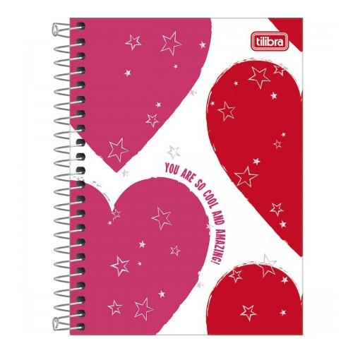 CADERNETA 1/8 CD ESPIRAL 80FLS LOVE PINK