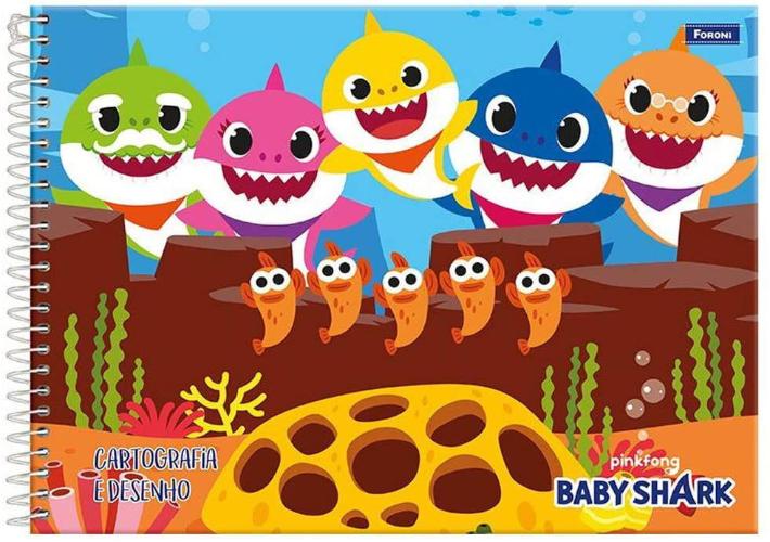 CADERNO CD ESPIRAL CARTROGRAFIA/DESENHO 96FLS BABY SHARK