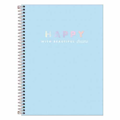 CADERNO COLEGIAL CD ESPIRAL 10 MATERIAS 160FLS HAPPY PASTELAZ