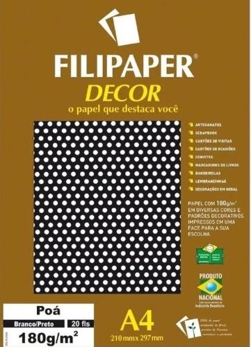 FILIPAPER DECOR A4 POA BRANCO/PRETO 180G 210X297 20FLS