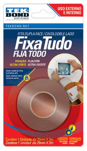 FITA FIXA TUDO ACRILICA TRANSP USO INTERNO/EXTERNO 25MMX2M BLISTER