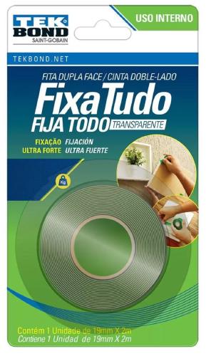 FITA FIXA TUDO ACRILICA TRANSP USO INTERO 19MMX2M BLISTER