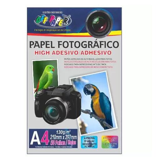 PAPEL FOTOGRAFICO ADESIVO A4 210MMX297MM 130G 50FLS
