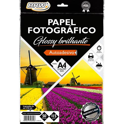 PAPEL FOTOGRAFICO GLOSSY BRILHANTE A4 50FLS AUTOADESIVO