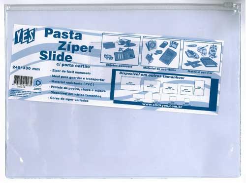 PASTA C/ ZIPER SLIDE C/ P. CARTAO 245X330 CRISTAL