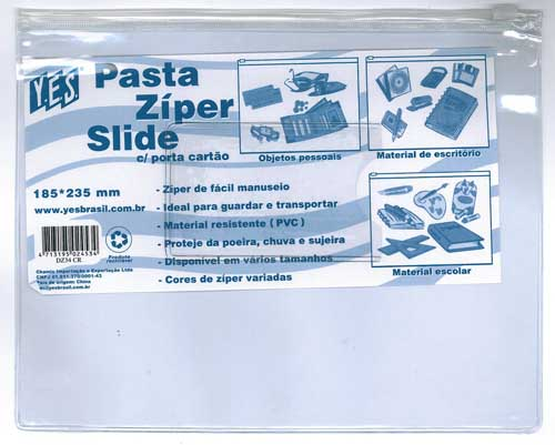PASTA COM ZIPER SLIDE PORTA CARTAO 185X235 CRISTAL