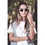 Óculos de Sol de Acetato com Bambu Amora White