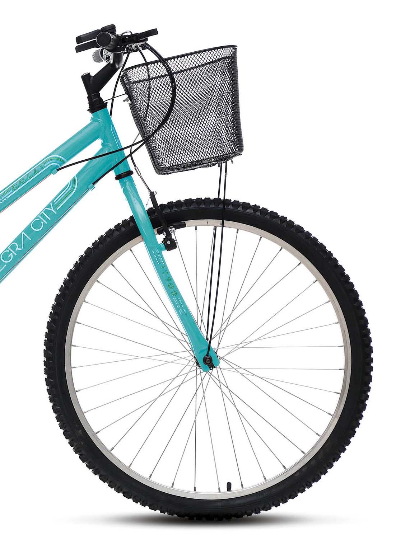 Bicicleta Colli MTB ALLEGRA CITY 153, Aro 26 Comum Natural, 18 Marchas, Freios V-Brake e Cestão