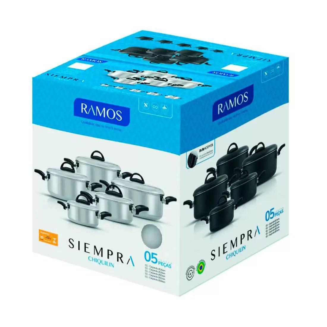Conjunto de Panelas Alumínio Ramos Siempra - Antiaderente 5 Peças