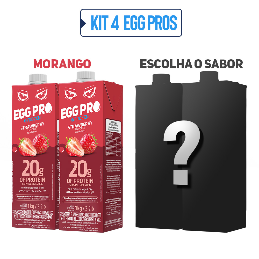 Kit 2 Egg Pro Morango + 2 Escolha Seu Sabor