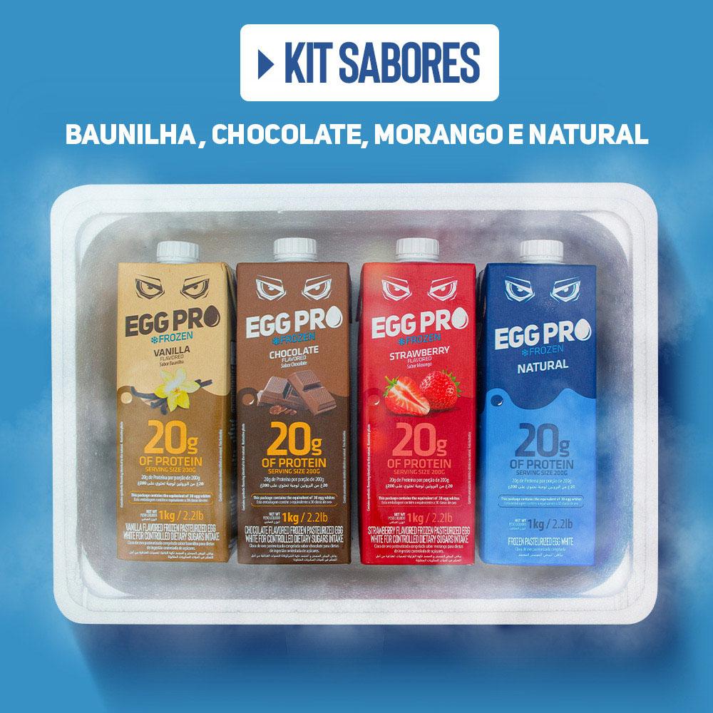 Kit Sabores - 1 EggPro Baunilha + 1 EggPro Chocolate + 1 EggPro Morango + 1 EggPro Natural