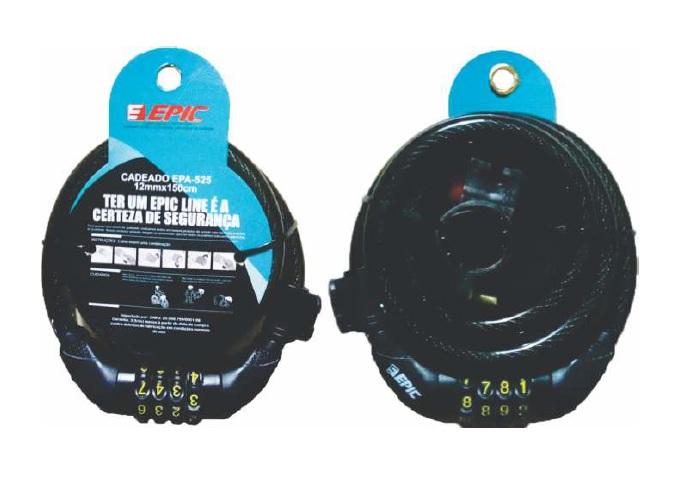 CADEADO CICLISMO EPICLINE 4 DIGITOS 12MM X 150CM