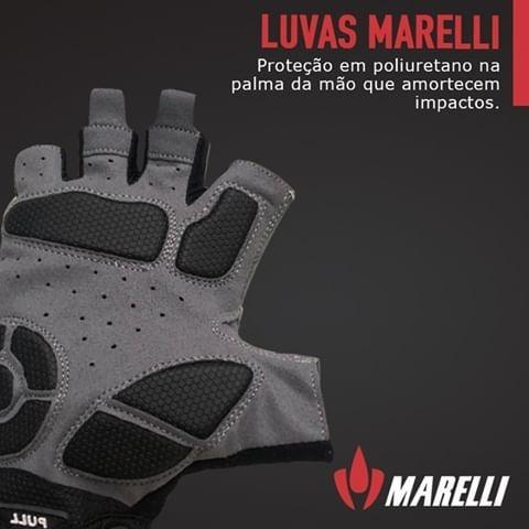 LUVA CICLISMO MARELLI RECORTE COM VELCRO VERMELHO