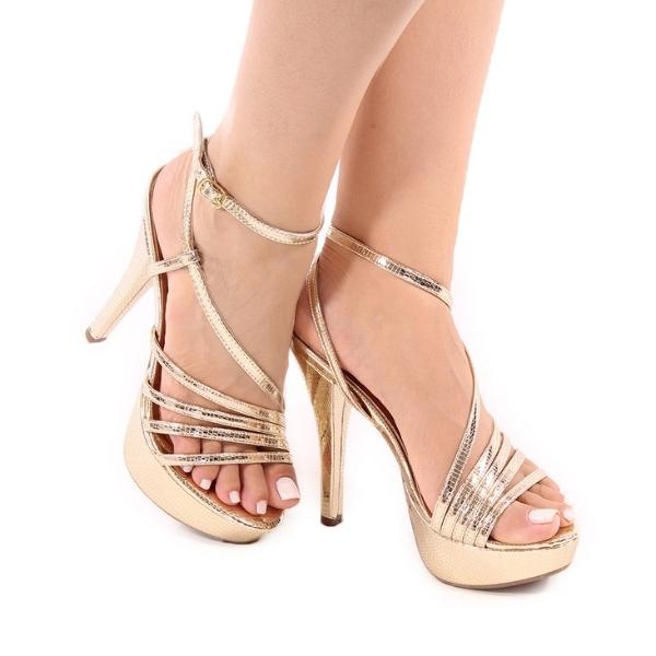 Sandália Plataforma Dourada