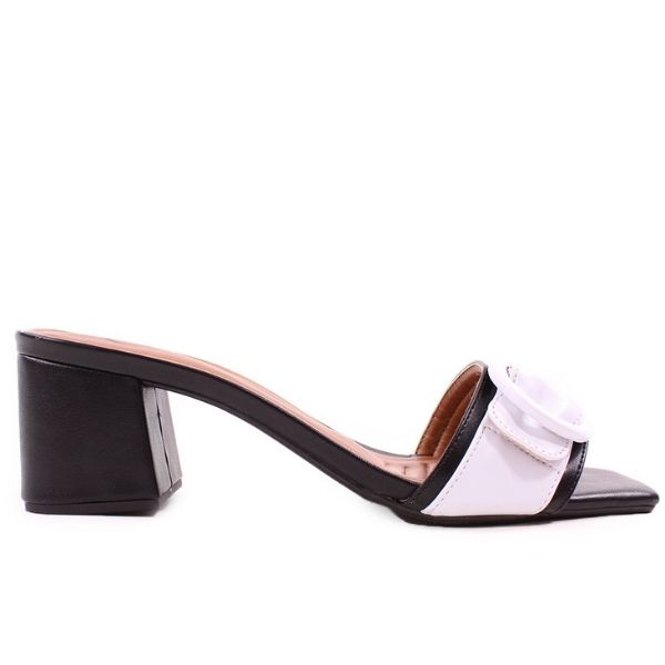 Sandália Tamanco Preta com Branca