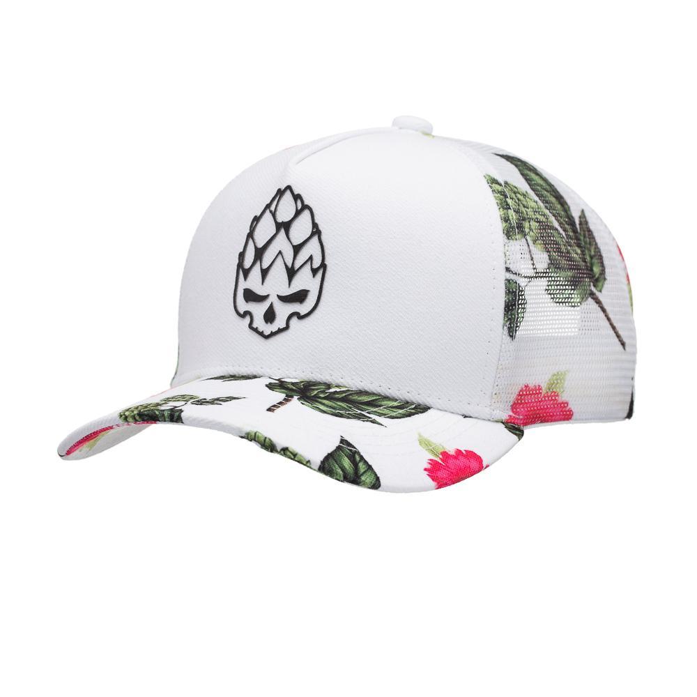Boné Trucker Hop Floral Branco