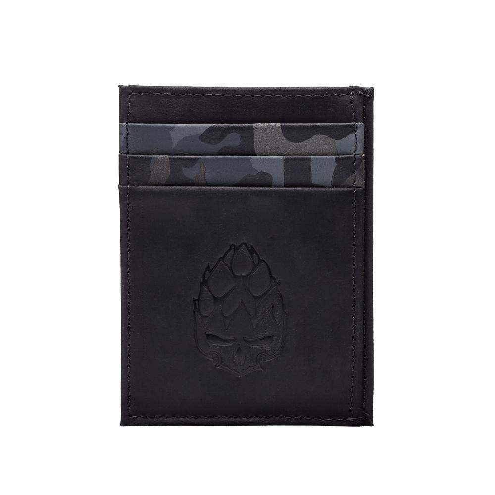 Carteira Porta Cartão Compact em Couro Legítimo Preta/Camuflada