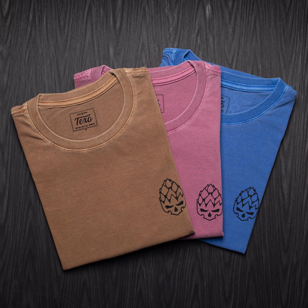 Kit 3 Camisetas Hopskull Contorno - Marrom Estonada, Bordô Estonada e Azul Estonada