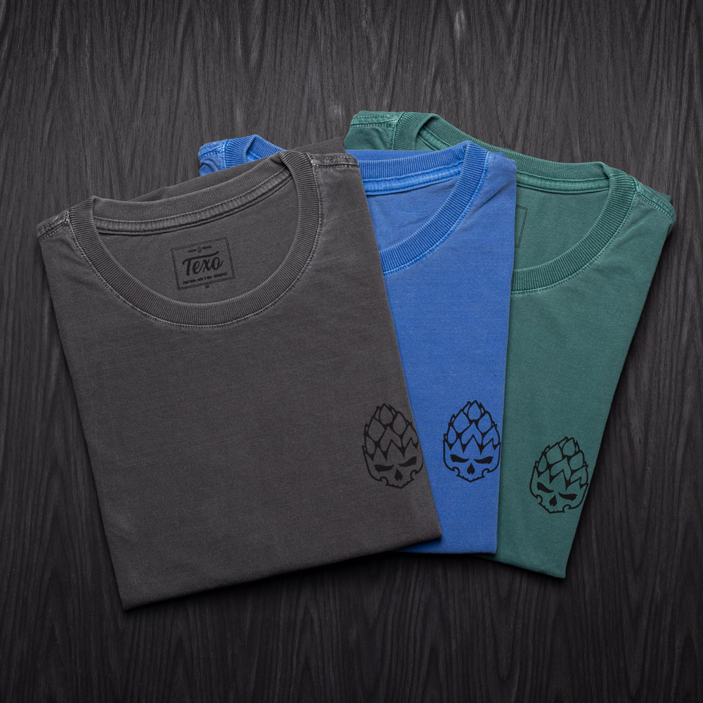 Kit 3 Camisetas Hopskull Contorno - Preta Estonada, Azul Estonada e Verde Estonada