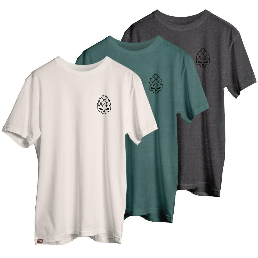 Kit 3 Camisetas Hopskull Contorno - Preta Estonada, Off White e Verde Estonada