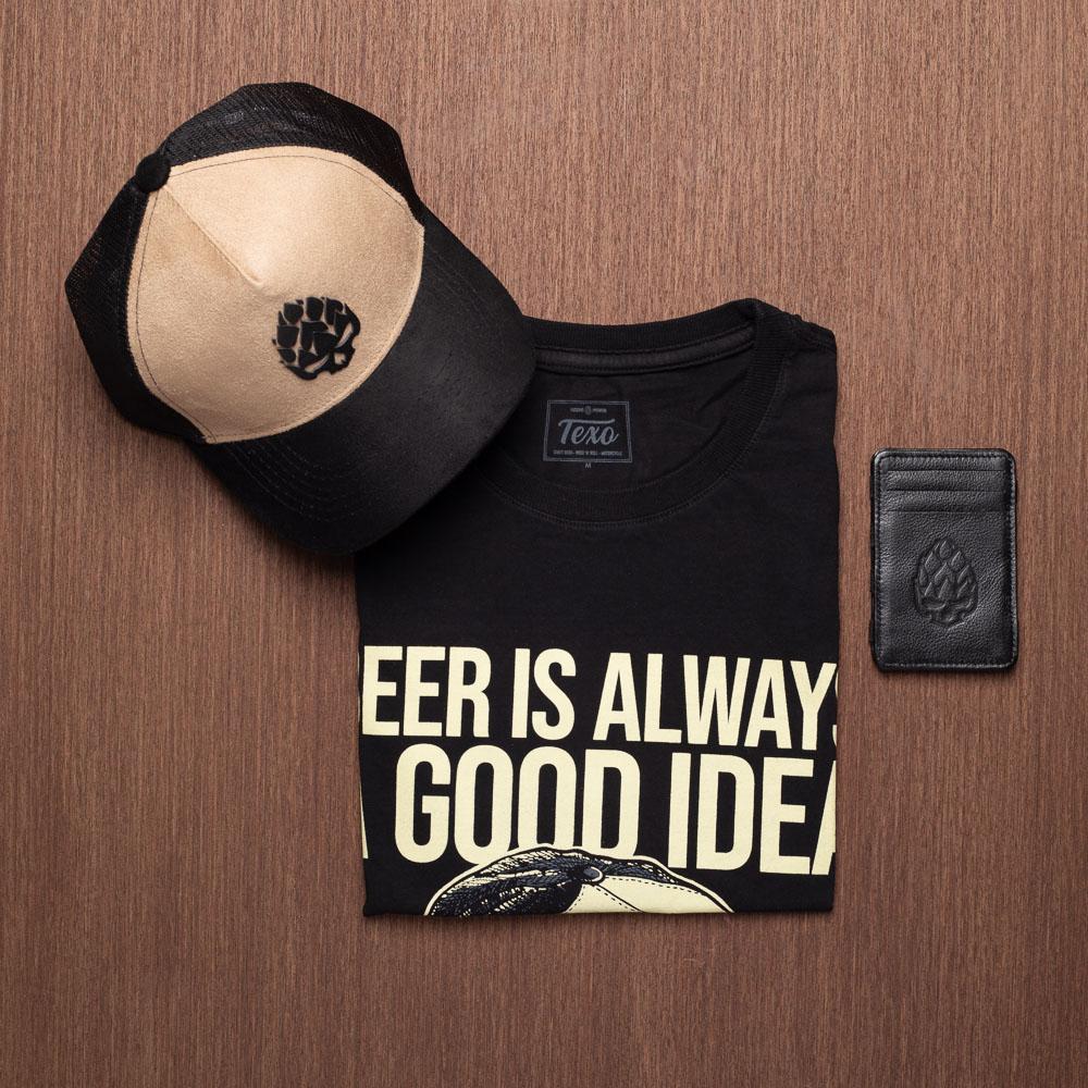 Kit Boné Good Idea Bege + Camiseta Good Idea Preta + Carteira Houdini em Couro Legítimo Preto