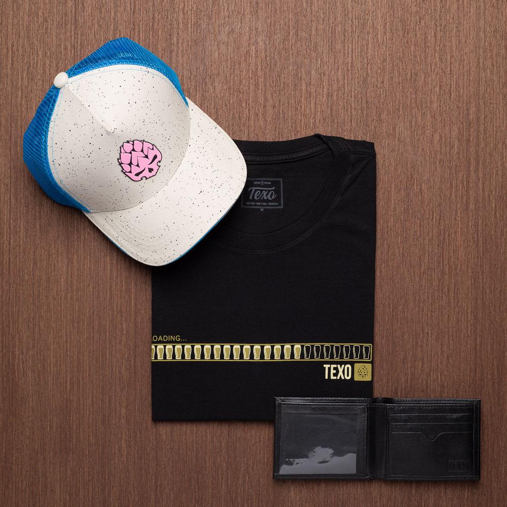 Kit Boné Trucker Delirium + Camiseta Loading Preta + Carteira Screen em Couro Legítimo Preta