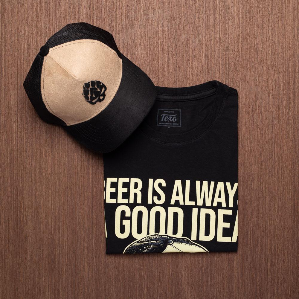 Kit Boné Trucker Good Idea + Camiseta Good Idea Preta