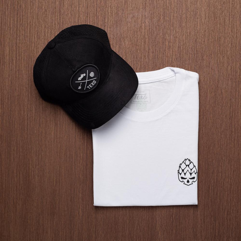 Kit Boné Trucker Ground Preto + Camiseta Hopskull Contorno Branca