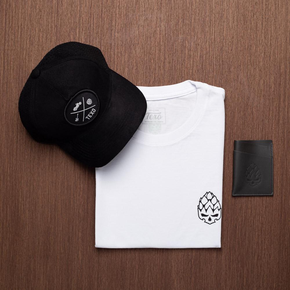 Kit Boné Trucker Ground Preto + Camiseta Hopskull Contorno Branca + Carteira Layer em Couro Legítimo Preto