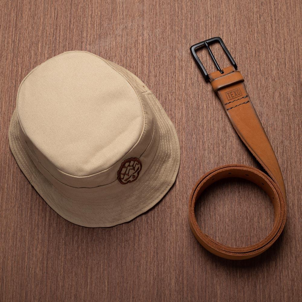 Kit Bucket Hopskull Bege + Cinto Toast em Couro Legítimo Castor