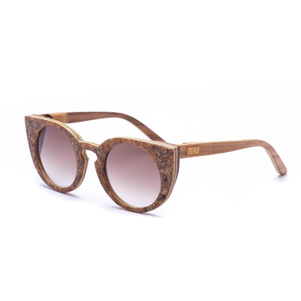Óculos de Malte e Madeira Mary Jane Marrom/Cabreúva