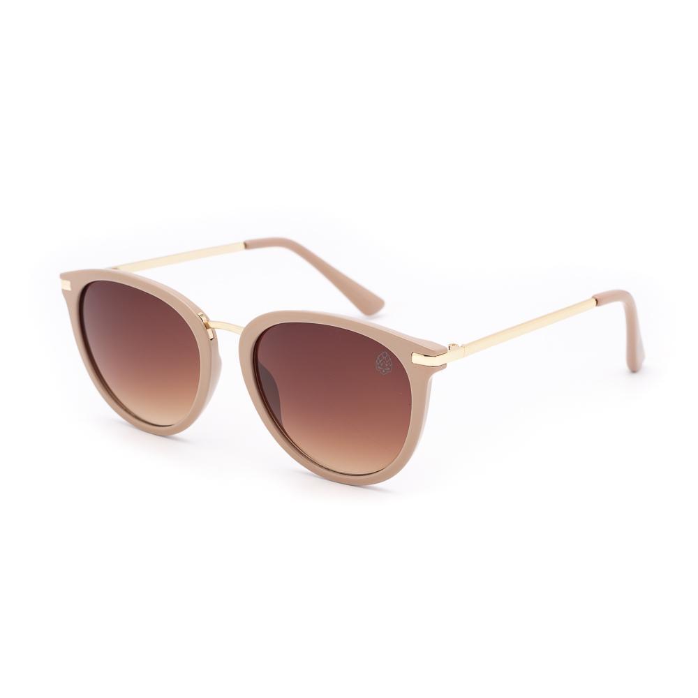 Óculos de Sol Feminino Redondo Breda Bege
