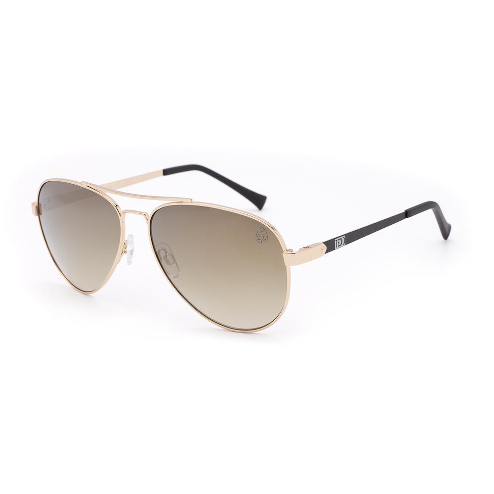 Óculos de Sol Unissex Aviador Karel Dourado e Preto