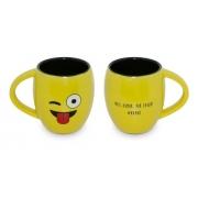 Caneca Cerâmica 300ML Emoji Ceraflame Amarela Humor