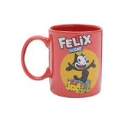 Caneca Porcelana  Gato Felix  Home Collection 300 ml  Cor: Vermelho