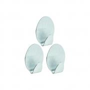 Gancho oval em metal com adesivo tamanho pequeno- Ordene 3 Unidades