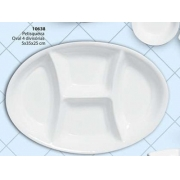 Petisqueira Oval 4 Divisões Cerâmica Porto Seguro cor: Branco