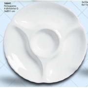 Petisqueira Redonda 4 Divisões Cerâmica Porto Seguro Cor: Branco