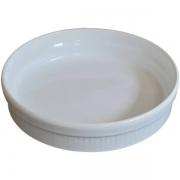 Travessa Redonda Canelada Tamanho: M Cerâmica Porto Seguro cor: Branco