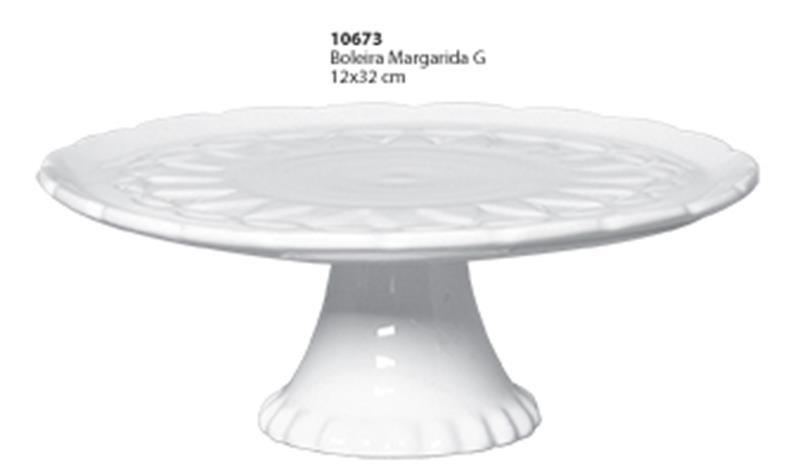 Boleira Margarida Tamanho Grande  Ceramica Porto Seguro cor: Branca