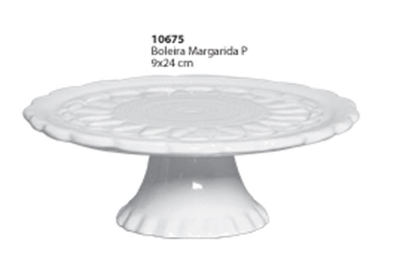 Boleira Margarida Tamanho Pequena  Ceramica Porto Seguro cor: Branca