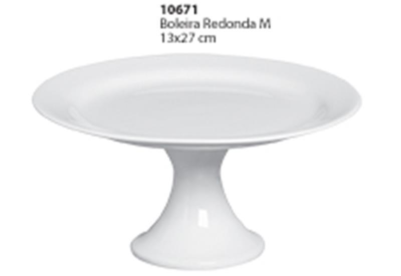 Boleira Redonda Tamanho M Cerâmica Porto Seguro cor: Branca