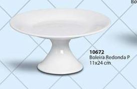 Boleira Redonda Tamanho P Cerâmica Porto Seguro cor: Branca