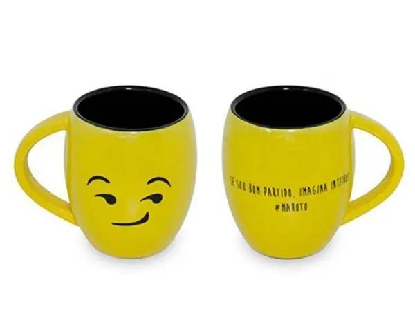 Caneca Cerâmica 300ML Emoji Ceraflame Amarela Maroto