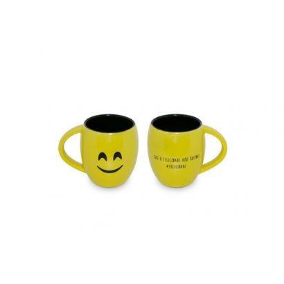 Caneca Cerâmica 300ML  Emoji Ceraflame Amarela Felicidade